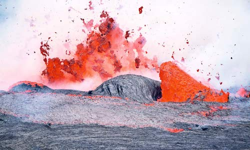 A photo of floating lava.